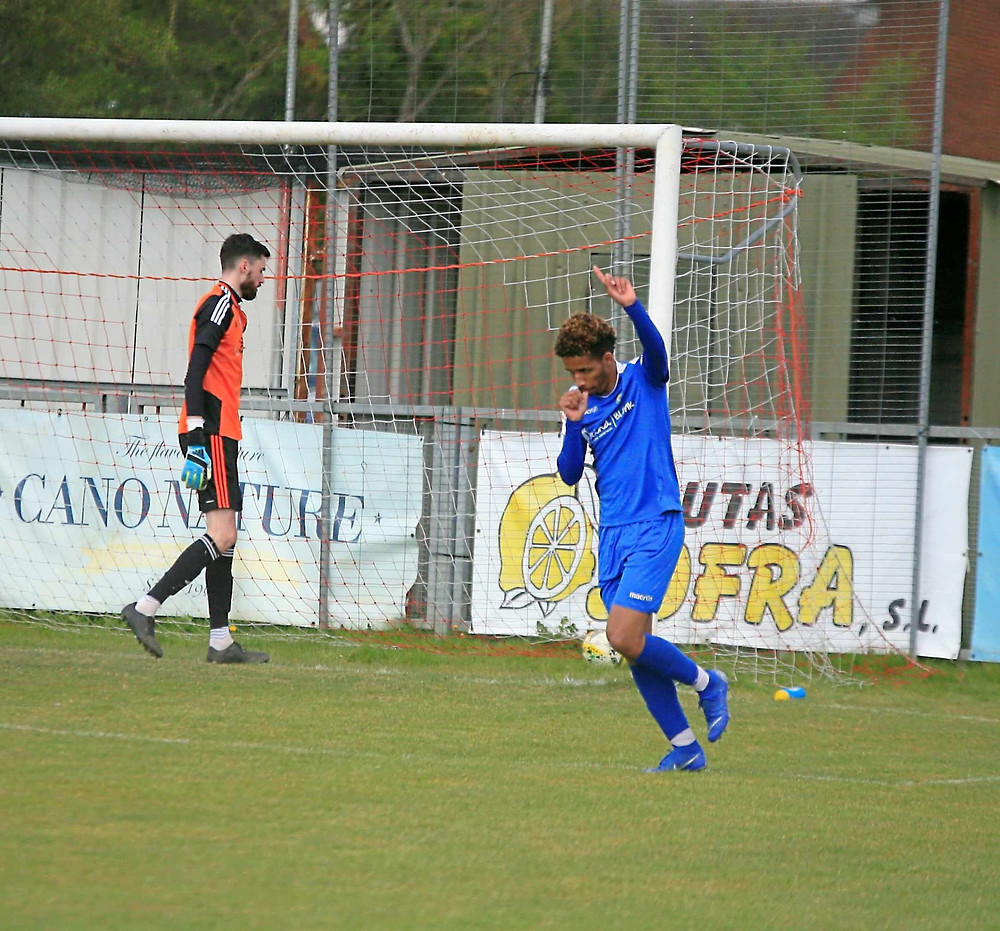 Leo Pedro scores a late consolation goal for Dunstable Town.