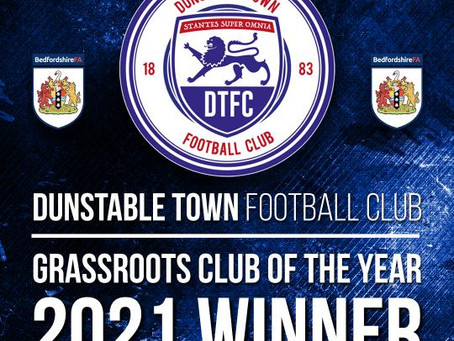 Dunstable Town Football Club Awarded Grassroots Club of the Year 2021