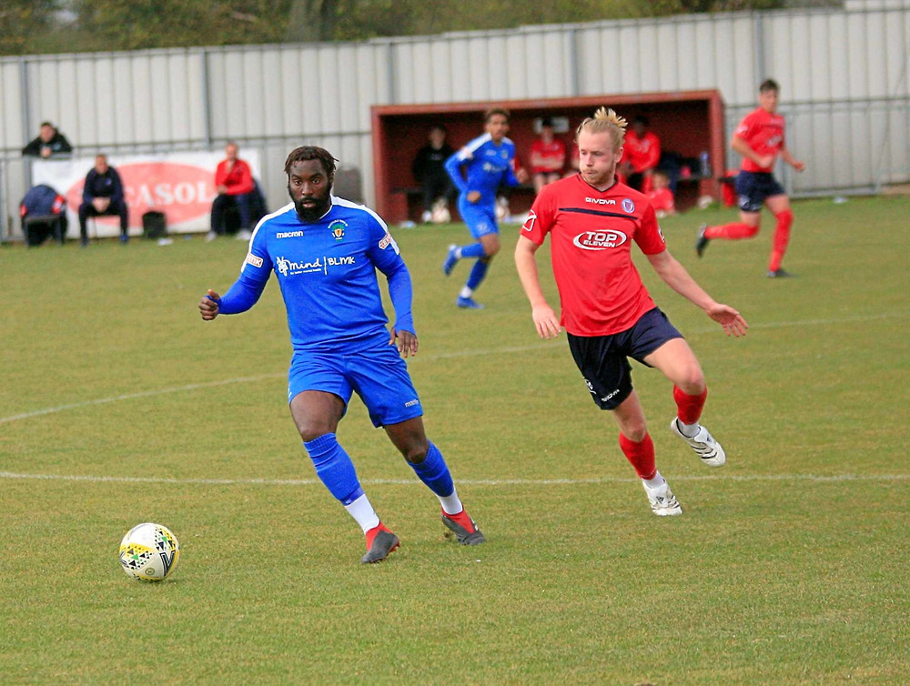 Former Blue Charlie Black in action for Biggleswade United.
