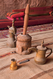 Arabic coffee pots,Grinder in a Bedouin tent.jpg