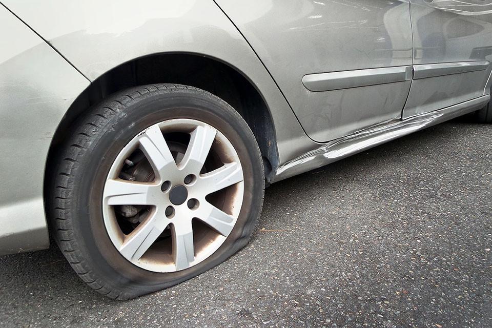 This car needs a flat tire repair