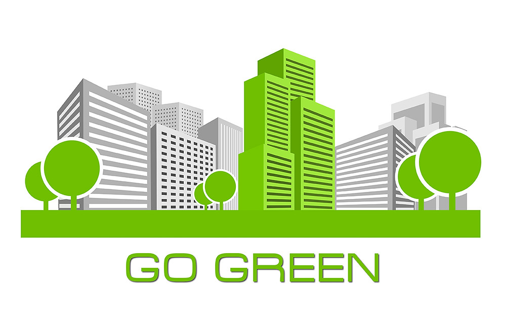 Go Green Sustainable Architecture Drawing