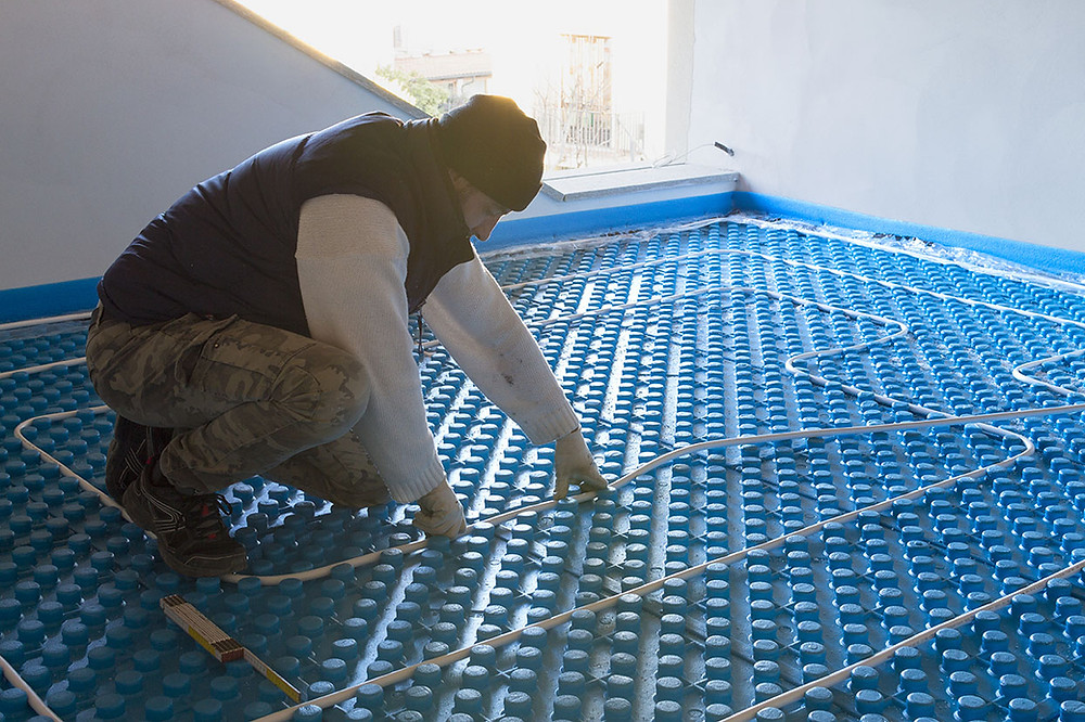 Radiant flooring in a sustainable building