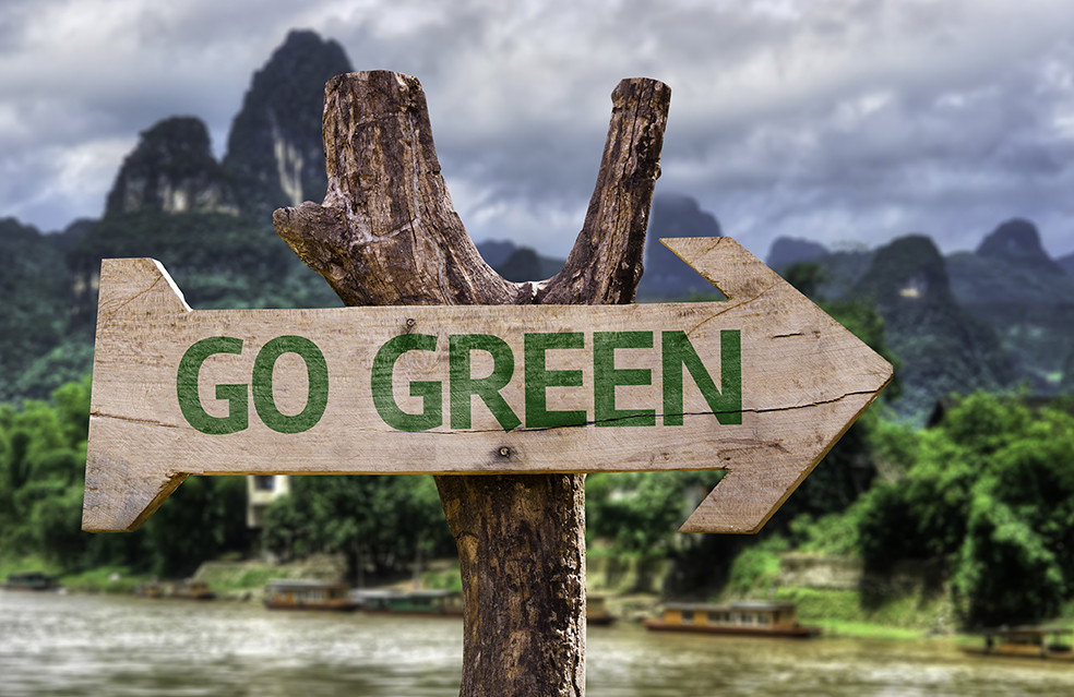 Go Green sign for LEED certified