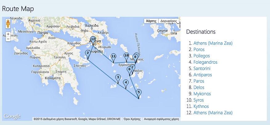 """Croisière avec le bateau traditionnel """"M/S Galiléo"""" : Santorin - Mykonos - Delos - Paros - Antiparos - Folegandros - Poliegos - Syros - Poros - Kythnos"""