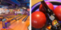 2 images: left is picture of bowling lanes at an angle. Right image is a close up of bowling balls with an erie brewing company beer bottle sitting on them - beer is soleil shandy