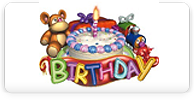 birthday logo - shows cake and teddy bear and birthday is in lots of fun colors