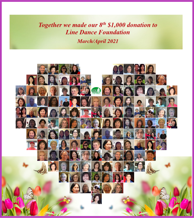 3/21/2021 Together we made the 8th $1,000 donation to Line Dance Foundation (LDF)