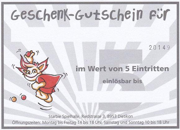 Geschenkkarte 5er Eintritt