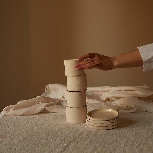 Shisho· set of 4 cups + 4 plates