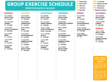 TEMPORARY FITNESS SCHEDULE