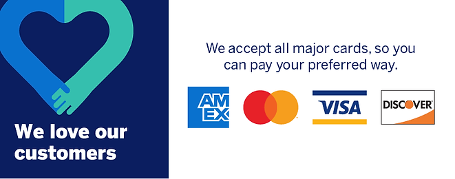 we accept all major forms of credit cards
