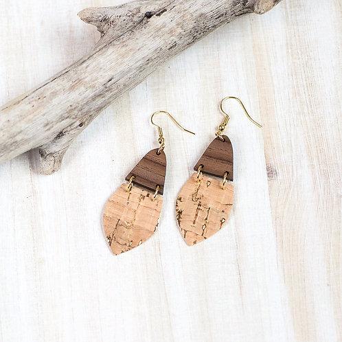 Walnut and Cork Drop Earrings