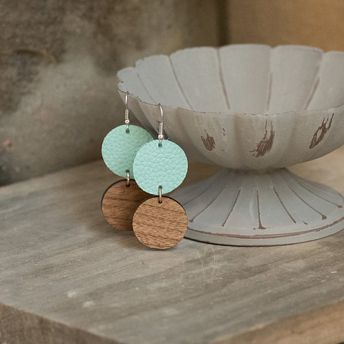 Double Circle Leather Earrings