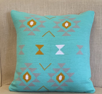 Pillow cover square turquoise southwestern