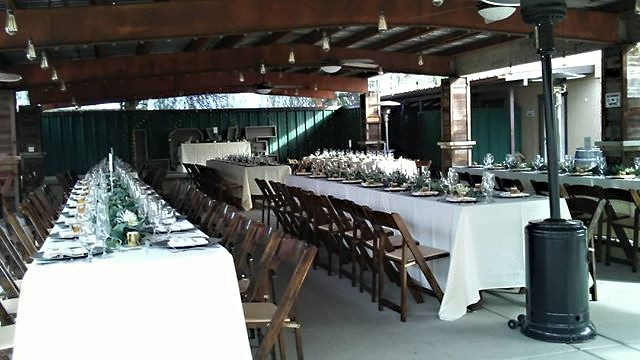 Wedding reception set up. Rustic theme..