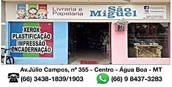 Livraria Papelaria São Miguel-Portalnetshopping-agua-boa-mt