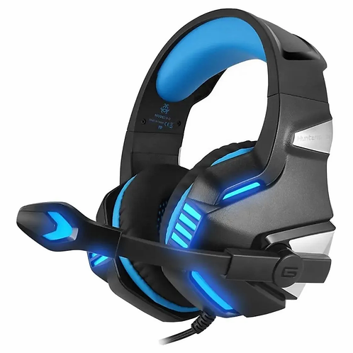 Audífonos Gamer Hunterspider V3 Negro/azul Con Luz Led