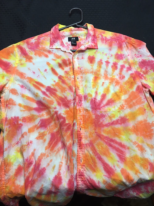button up tie dye shirt - large