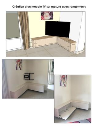 Création d'un meuble sur mesure pour TV