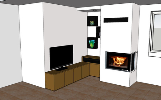 Création d'un meuble et d'angle et niches avec lumière