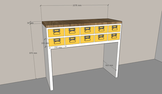 Console tiroirs jaunes