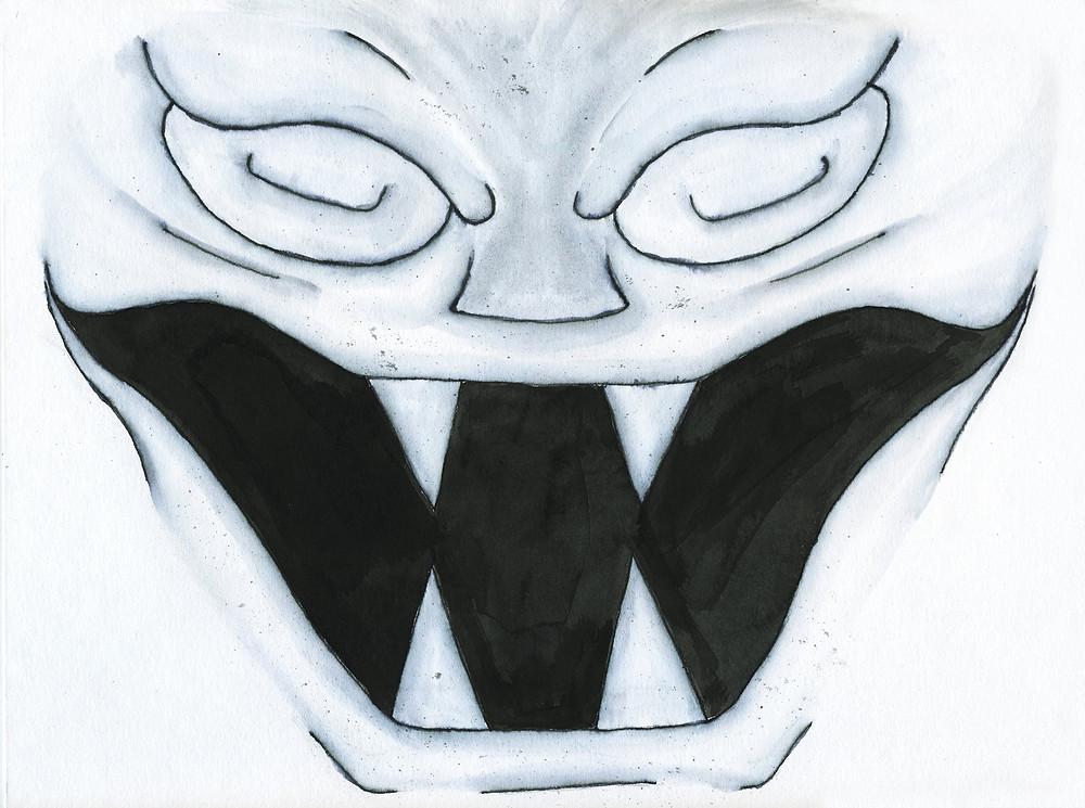 A gargoyle grins
