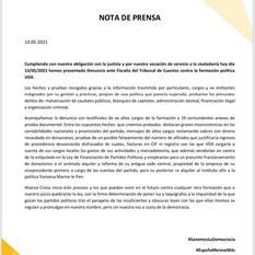 Nota de Prensa 13 de mayo de 2021