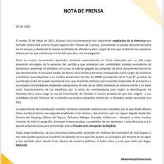 Nota de Prensa del 25 de mayo de 2021