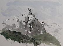 Chamonix  Aiguille du Midi 2016 aquarelle encre de Chine 30x40  Christine Lévy-Rostagnat .