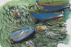 Bretagne barques 2016  20x30 gouache fusain Christine Lévy-Rostagnat