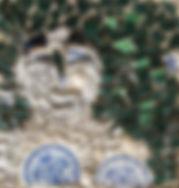 Femme, 2014, 32x32, mosaïque tessons céramique, ciment, Christine Lévy-Rostagnat