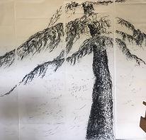 détail cèdre 2018 2,40 x 4 m fusain sur papier thaï Christine Lévy-Rostagnat
