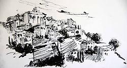 Gordes, 201520X30, crayon aquarelle Christine Lévy-Rostagnat