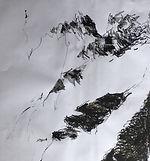 Chamonix  2017 Christine Lévy-Rostagnat crayon aquarelle, fusain  50 x 60 canson marouflé sur toile