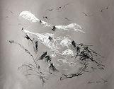 Chamonix  2017 Christine Lévy-Rostagnat crayon aquarelle, pastel  fusain  50 x 60 canson gris