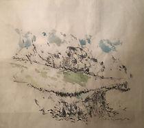 Christine Lévy-Rostagnat A Journans-1  65x65aquarelle, fusain, papier thaïlandais .