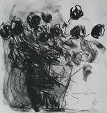 Roses rouges 2016 40x30 fusain Christine Lévy-Rostagnat