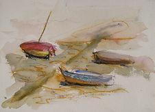 Bretagne barques 2016  20x30  aquarelle pastels  Christine Lévy-Rostagnat