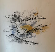 Christine Lévy-Rostagnat à Journans 50x50 aquarelle, fusain, papier thaïlandais