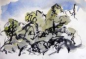 garrigue à Gordes, 2015, 15X21,aquarelle fusain, Christine Lévy-Rostagnat