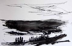 Plaine  Gordes, 2015, 20x30,  crayon aquarelle Christine Lévy-Rostagnat