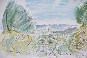 Garrigue à Gordes, 2014, 25x30, aquarelle, Christine Lévy-Rostagnat