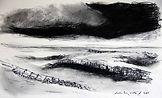 Journans, 2014,30X40, fusain, crayon aquarelle Christine Lévy-Rostagnat