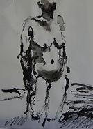 Nu, 2015, 20x15, crayon aquarelle, Christine Lévy-Rostagnat