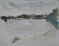 Bretagne  Ile aux Moines 2016 20x30    aquarelle encre de chine Christine Lévy-Rostagnat