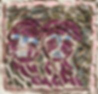 Couple Mosaïque, 2014, tessons céramique, ciment, 32x32, Christine Lévy-Rostagnat