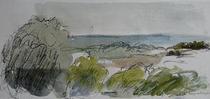 Garrigue à Gordes, 2014, 25x40, aquarelle, Christine Lévy-Rostagnat