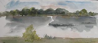 La Saône, 2014, 25x40, aquarelle, Christine Lévy-Rostagnat