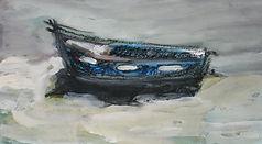 Bretagne barque  2016 20x30   gouache fusain Christine Lévy-Rostagnat